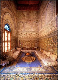 Islamic Art - Morocco - lovely place to eat with loved ones, or just lounge Moroccan Design, Moroccan Tiles, Moroccan Decor, Moroccan Room, Turkish Decor, Moroccan Print, Moroccan Lanterns, Islamic Architecture, Art And Architecture
