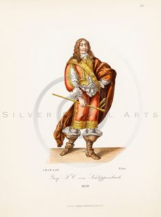Beautifully aged 1800s antique Medieval Armor Costume chromolithograph print from COSTUMES, ARMOR, & ART by Dr. Von Hefner, published in Frankfurt, Germany.  The natural patina, age-toning, imperfections, and old paper antiquing of this vintage 19th century illustration are preserved in this image.