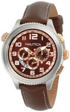 DISCOUNT FOR Nautica-Mens-N25014G-Brown-Watch Please visit http://teetah.net/r/Nautica-Mens-N25014G-Brown-Watch.html