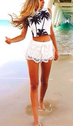 I love these lace shorts and the top also, not together though...women's summer fashion