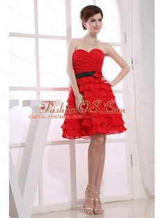 Sweetheart A-Line Ruffles Chiffon Knee-length Prom Dress Red  http://www.fashionos.com  Preparing for your prom and busy with picking your prom dress? This piece might help. The strapless design with a sweetheart neckline and ruched bodice on the top, a contrasting black waistband adorned with a hand made flower in the midsection, and tiers of layers on the skirt flows freely and gives a sense of delicate beauty. The zipper closure completes this design.