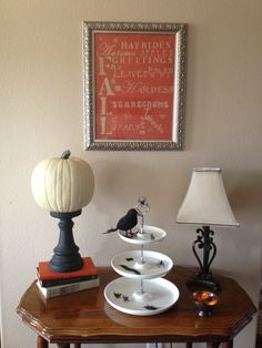 Pumpkin on candle holders Fall décor I LOVE the antique white pumpkins especially with an initial on them