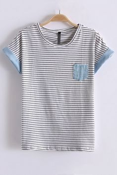 Leisure Stripe Print Short Bat Sleeve T-shirt - OASAP.com