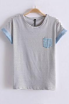 Leisure Stripe Print Short Bat Sleeve T-shirt