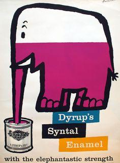 """Reklame for Dyrups Syntal Emaille og for produktets """"elephantastic strength""""."""