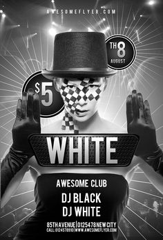 Black and White Club Free PSD Flyer Template - http://freepsdflyer.com/black-and-white-club-free-psd-flyer-template/ Free Black and White Club PSD Flyer Template – One of our previous free club PSD flyer templates now for free download again! This free psd flyer template was designed to promote your next party, club and special music event. This print ready free flyer template includes a 300 dpi print ready CMYK file. All main elements are editable and customizable.   #