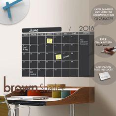 2016 Chalkboard Wall Calendar FREE Chalk Ink pen by brownshades