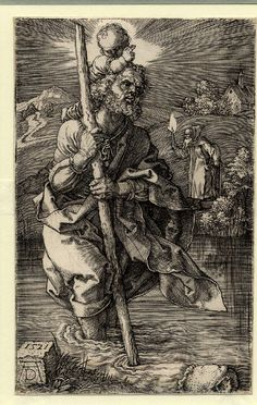 St Christopher facing right, carrying the infant Christ on his shoulders across a river, with a hermit standing on the banks and guiding them with a light.  1521 Engraving