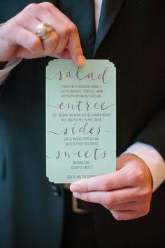 pretty menu! Photography By / haleysheffield.com, Event Design By / jessicainteriors.com, Floral Design By / gertiemaes.com