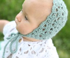 Vintage Lace Crocheted Baby Bonnet - Mint - 0-3 Month Size - Girls Hat on Etsy, $23.00