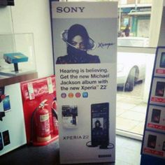 """Sony Xperia Z2 and Michael Jackson's new album """"Xscape"""" - promo for Sony's Xperia Z2 in UK, May 2014"""