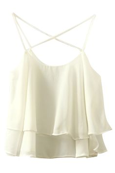 the tank top is crafted from chiffon. it features solid color, spaghetti strap and layered hem.