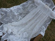 White Filet Crocheted Christening Gown Set for by everythingswhite