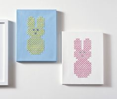 DIY Peeps cross stitch canvases