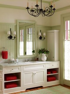 Bath with touch of red