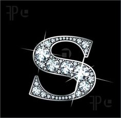 "Illustration of A stunningly beautiful ""S"" set in diamonds and silver."