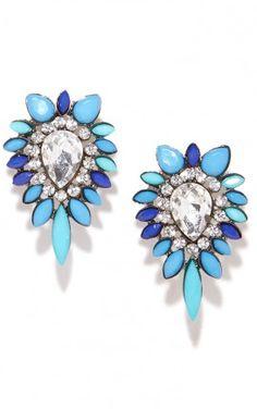 peacock blue sparkle studs