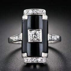 Art Deco Platinum, Onyx and Diamond Ring