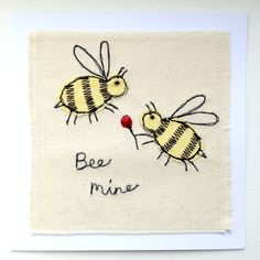 Bee Mine bumble bees greeting card, personalised machine embroidered stitched fabric applique. Wedding, anniversary, wildlife, nature