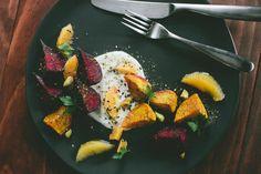 Za'atar Roasted Beets w/ Honeyed Yogurt, Orange + Pistachio
