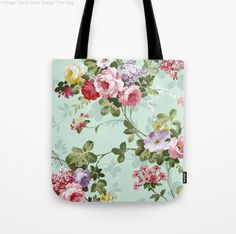 Floral Vintage Design with Roses Bag, available in apparel and home decor items (bags, clock, wallpaper, curtains, bedding, legging, laptop and mobile case, t-shirts etc)