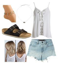 """""""Beach Outfits"""" by riniu on Polyvore featuring beauty, T By Alexander Wang, Sans Souci, Kendra Scott and Birkenstock"""
