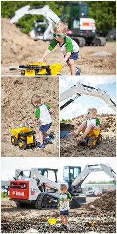 Diggers & Dirt - 3-year old boy construction site photo shoot