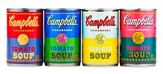 """Cool! To celebrate the 50th anniversary of Andy Warhol's 1962 famed work, """"32 Campbell's Soup Cans"""", Campbell Soup Company is introducing limited-edition cans of Campbell's® Condensed Tomato soup with labels derived from original Warhol artwork. The four specially-designed labels reflect Warhol's pop-art style and use vibrant, eye-catching color combinations like orange and blue, and pink and teal."""