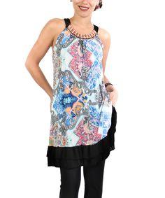 Loving this Blue & Pink Arabesque Yoke Dress - Plus on #zulily! #zulilyfinds