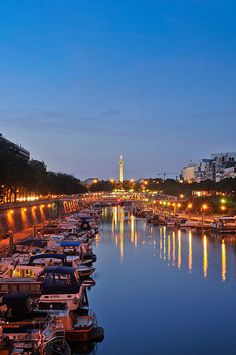 Bassin de l'Arsenal and Colonne de Juillet monument in the background at night.