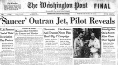 One of the Washington Post newspaper headlines from July 1952. A series of UFO sightings occurred that month, including clusters of seven blips seen on radar by air traffic controllers at Washington National Airport. Similar blips were reported by radar operators at Andrews & Bolling Air Force bases.