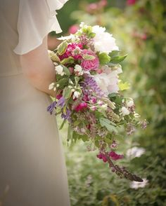 Wildflower waterfall wedding bouquet by Martha and the Meadow