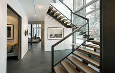 Wood glass railing staircase modern with wood stairs black and white photography
