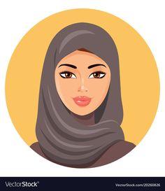 Beautiful face of arabic muslim woman in hijab vector illustration - Buy this stock vector and explore similar vectors at Adobe Stock Muslim Girls, Muslim Women, Girl Face, Woman Face, Beauty Editorial, Editorial Photography, Aurora Sleeping Beauty, Illustration, Avatar