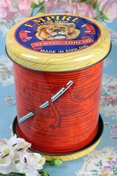 A delightful vintage Empire Sewing Thread tin. #vintage #sewing more vintage sewing fun http://www.girlinthejitterbugdress.com/costume-vs-historic-the-art-of-sewing-vintage/