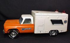 NY Lint Nylint Orange White Rescue Ambulance Pressed Tin Toy Truck Vintage 1960 | eBay