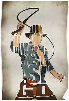 Indiana Jones Print - Harrison Ford Minimalist Illustration Typography Art Print & Poster via Etsy Harrison Ford, Indiana Jones, Typographic Poster, Typography Art, Henry Jones Jr, Cinema Tv, Plakat Design, Fritz Lang, Fan Art