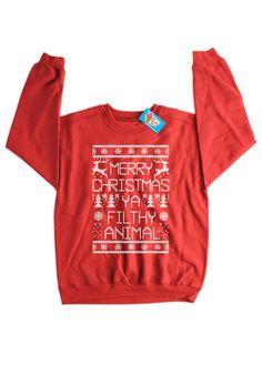 Merry Christmas Ya Filthy Animal Sweater Christmas by IceCreamTees, $19.99