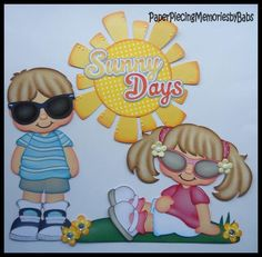 Premade Paper Pieced Boy and Girl Sunny Days Set for Scrapbook Pages-by Babs