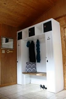 I have been wanting a nice landing area for all the things that are carried in and out of the house every day, and have been inspired by the. Built In Lockers, Garage Lockers, Norfolk House, Mudroom Laundry Room, My Dream Home, Home Interior Design, Home Projects, Decor Ideas, Diy Ideas