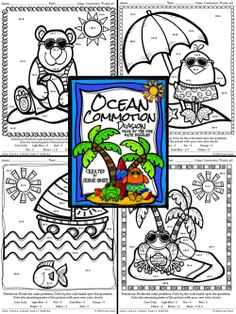 Ocean Commotion ~ Division Math Color By The Code Puzzle Printables Math Printables Color By The Code Puzzles For Summer To Practice Division Skills. ~This Unit Is Aligned To The CCSS. Each Page Has The Specific CCSS Listed.~ This set includes 4 Beach themed math puzzles with division facts on each page. Set also includes 4 answer keys for the 4 puzzles. $