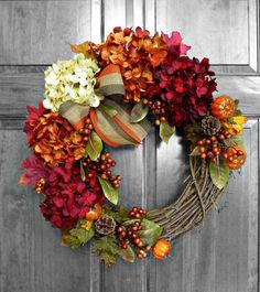 Front Door Wreath Full of Hydrangeas this wreath is perfect for fall. Bright and colorful!