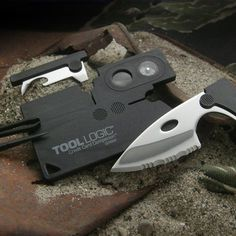 Tool Logic CC1SB Credit Card Companion with Serrated 2-Inch Steel Blade, Lens and Compass, 9-Tools Total, Black Finish