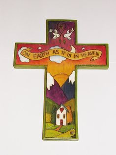 Wooden Cross Handmade/ handpainted/ Whimsical/ by woodwithheart