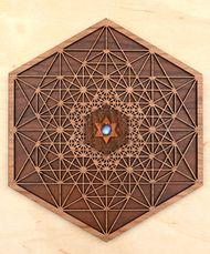 Harmonic Resonance Hardwood Wall Art - 10in - 12mm Rainbow Moonstone Thing 1, Wooden Hangers, Flower Shape, Wall Art Designs, Sacred Geometry, Rainbow Moonstone, Birch, Hardwood, Layers
