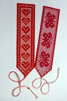 filet crochet butterflies and hearts bookmarkers