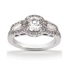 Platinum Halo 3 Stone Engagement Ring with Round Center Stone and Baguette Side Stones available at Wheat Jewelers