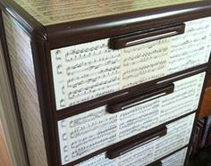 Learn stripping, staining, painting and reupholstering basics to make bargain-basement furniture worthy of center stage at home - used spray paint and decoupaged tea-stained sheet music to refinish this old dresser.