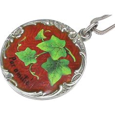 Antique french silver enamel green ivy leaf slide charm pendant offered for sale is this high quality art nouveau silver and enamel pendant with the french aloadofball