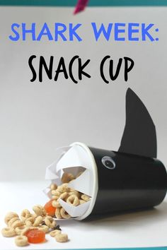 Shark Week SNACK ATTACK cup idea for Kids - perfect for ocean birthday parties and Discovery Channel's Shark Week celebrations! (and preschool snack time!)